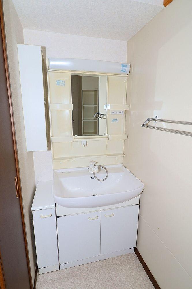 朝の身支度にも便利なシャワー付き洗面台