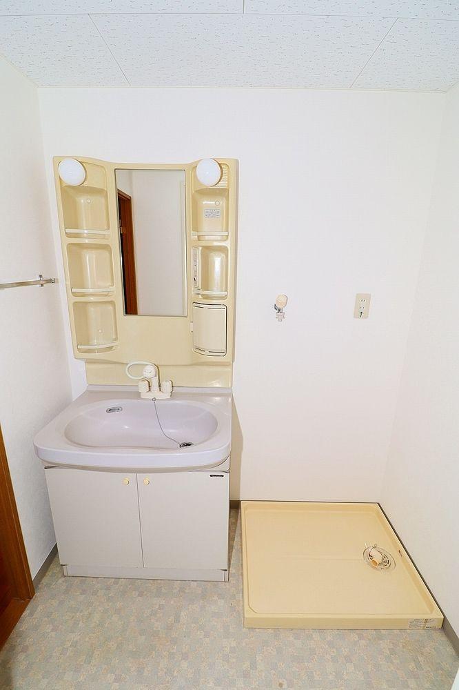 朝の身支度にも便利なシャワー付き洗面台 洗濯機置き場