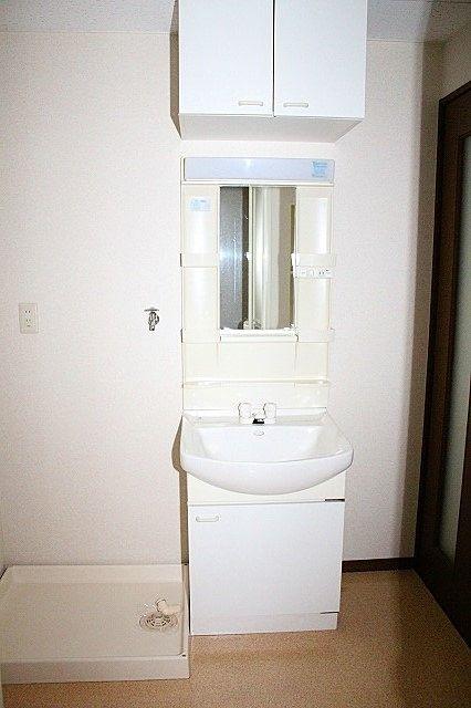 収納もしっかりある洗面台 洗濯機置き場
