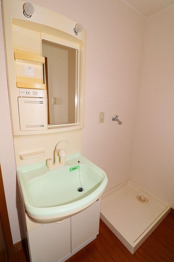 洗面脱衣所 朝の身支度にも便利なシャワー付き洗面台 洗濯機置き場