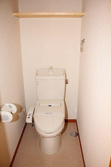 トイレは温水洗浄便座付き 棚もあります