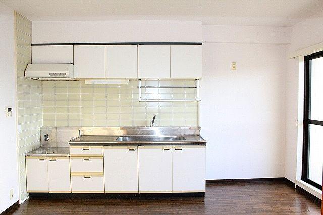 広いキッチンシンクで快適にお料理♪収納もしっかりあります