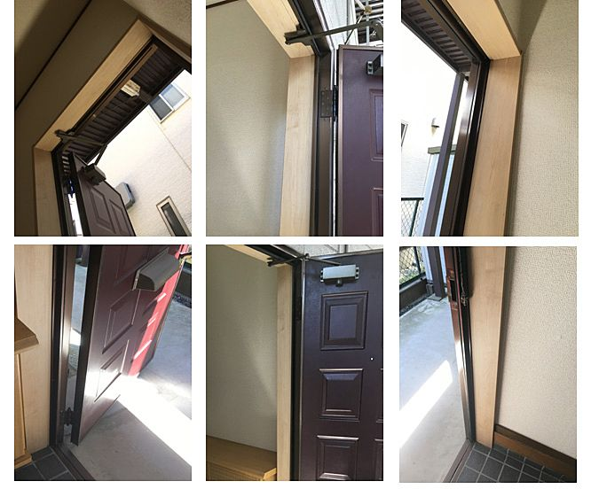 新しいドア枠を組み直してもらい工事完了