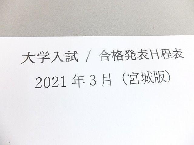 宮城県 大学入試 / 合格発表日程 2021年3月